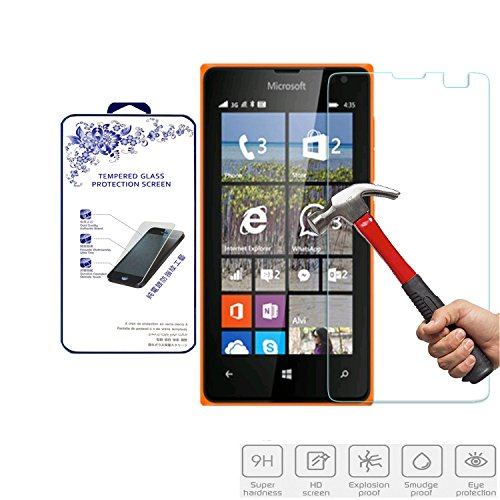 For Microsoft Nokia Lumia 435 Nacodex Tempered Glass Front LCD Screen Protector Film 9h Hardness, 2.5d Rounded Edges, 0.3mm Thickness Retail Package (For Microsoft Lumia 435)