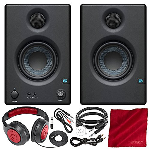 PreSonus Eris E3.5 3.5 Professional Multimedia Reference Monitors with Acoustic Tuning Pair and Closed-Back Stereo Headphones Deluxe Accessory Bundle