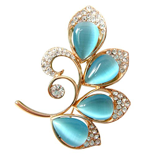 Navachi 18k Gold Plated Blue Opal Crystal Branches Leaves Az7856b Brooch Pin