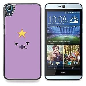 """Púrpura de la estrella sonriente amarilla linda minimalista"""" - Metal de aluminio y de plástico duro Caja del teléfono - Negro - HTC Desire 626 626w 626d 626g 626G dual sim"""