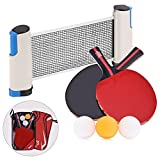 YVO Table Tennis Rackets Set Ping Pong Paddle - 2 Poplar Rackets + Retractable Table Net + 3 Ping Pong Balls + Rack Carrying Case
