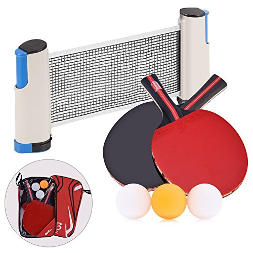 YVO Table Tennis Rackets Set Ping Pong Paddle - 2 Poplar Rackets + Retractable Table Net + 3 Ping Pong Balls + Rack Carrying Case by YVO