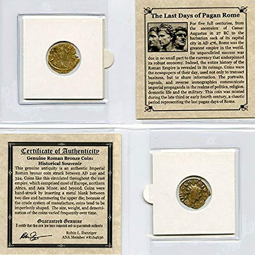 THE LAST DAYS OF PAGAN ROME - Authentic Roman Bronze Coin in Mini Album - Genuine Roman Ancient Antique from 240-324 AD - Historical Souvenir with Certificate of Authenticity