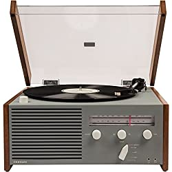 Crosley CR6033A-GY Otto 2-Speed Turntable with Bluetooth, AM/FM Radio, and Aux-in