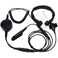 SUNDELY® Military Grade Tactical Throat Mic Headset/Earpiece with BIG Finger PTT for Motorola Radio MTX960 PR860 PTX760 6-pin 122-139