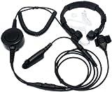 SUNDELY® Military Grade Tactical Throat Mic Headset/Earpiece with BIG Finger PTT for Motorola Radio MTX960 PR860 PTX760 6-pin 122-139