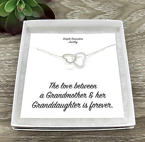 Grandmother Granddaughter Silver Two Hearts Necklace