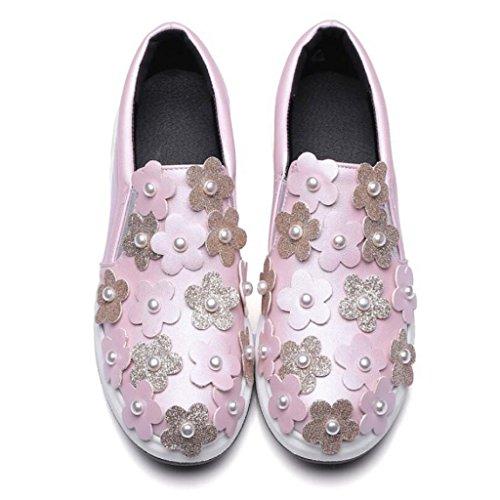 Bombas PU los la aire Zapatos de la la de deportes de holgazanes planos comodidad verano GAOLIXIA de Zapatos al Rosado Zapatos perla Flor mujeres libre Primavera de las los de ocasionales qCEgOw