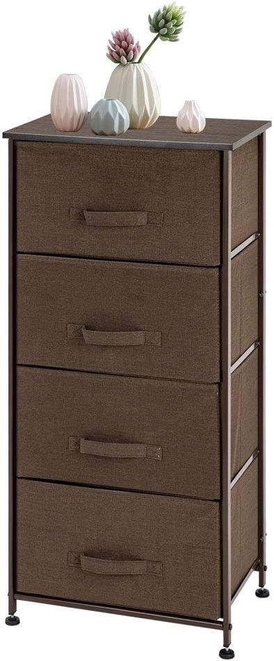 Wooden Top Modern Clothes Dresser Tower for Bedroom Closet Storage Organizer with 5 Drawers Nurseries w//Sturdy Mental Frame VINGLI Dresser Organizer Chest Easy Pull Fabric Bins Brown Hallway