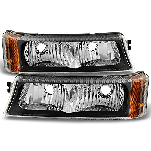 For 2003-2006 Chevy Silverado/Avalanche Black Bumper Turn Signal Parking Lights Lamps Left + right Pair