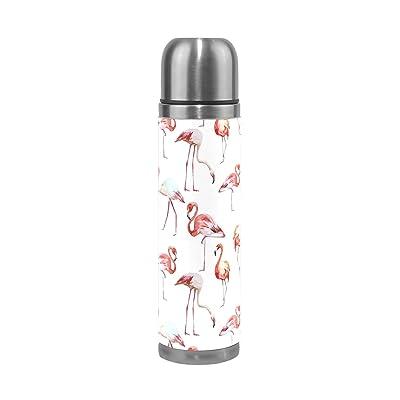Jstel flamants roses en acier inoxydable Gourde thermos anti-fuites double Bouteille Vide pour café chaud ou froid à thé + Boisson Tasse Top 500ml