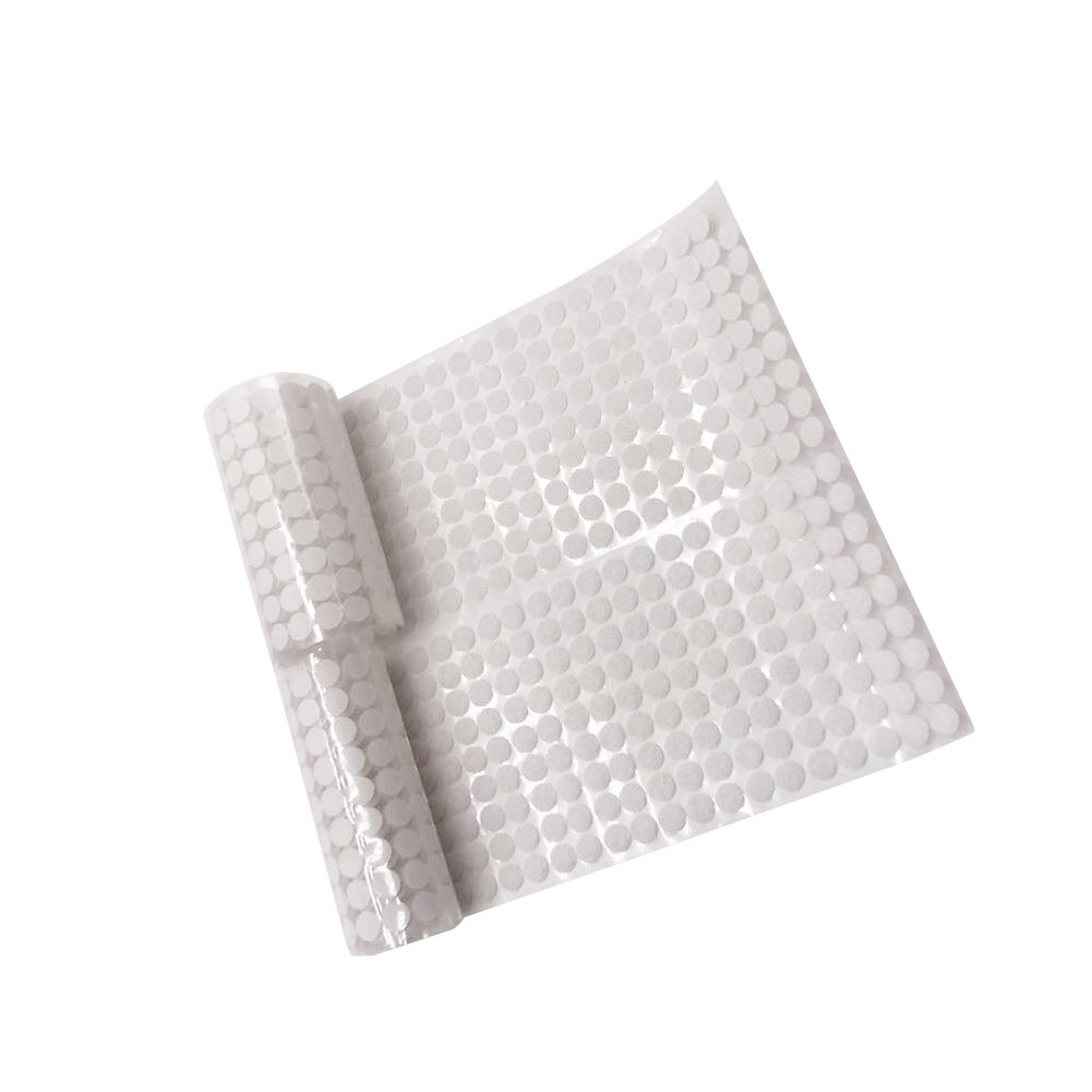 LAOZHOU 500 Pairs Sticky Back Coins Hook & Loop Self Adhesive Dots Tapes (10MM White)