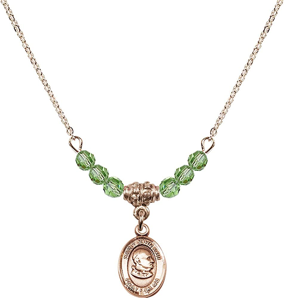 18-Inch Hamilton Gold Plated Necklace with 4mm Peridot Birthstone Beads and Gold Filled St John XXIII Charm.
