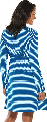 Neck UPF V White Dress Sun Blue 50 Coolibar Women's Stripe Protective Brilliant HwdxvqWI4t