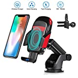 Car Phone Mount,Automatic Clamping Cell Phone Holder for Car Wireless Charger Compatible with iPhone Xs Max XR X 8 Plus Samsung Galaxy Note 8 9 S9 S9+ S8 S8 Plus & Qi Enabled Devices