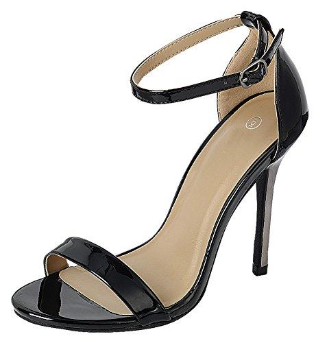 Cambridge Select Women's Open Toe Single Band Buckled Ankle Strap Stiletto High Heel Sandal,5 B(M) US,Black Patent PU