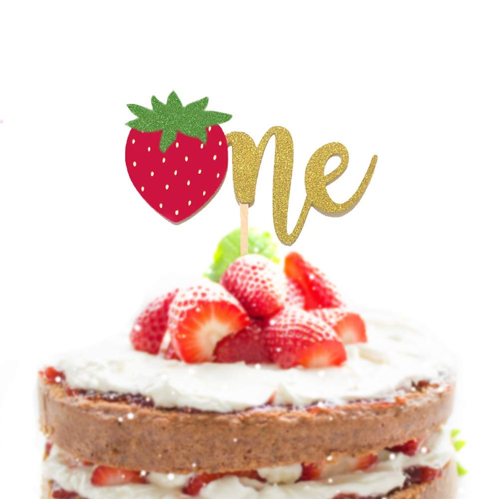 Terrific Amazon Com 1 Pcone Strawberry Script Gold Glitter Cake Topper Funny Birthday Cards Online Barepcheapnameinfo