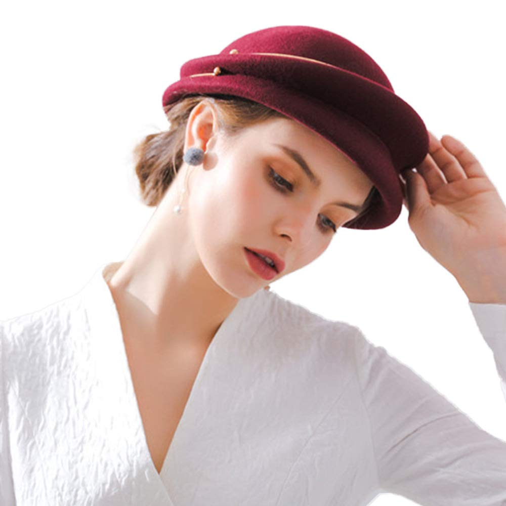 FADVES Wool Hat Autumn Winter Beret Metal Ring Cloche Felt Vintage Church Caps Wine Red by FADVES (Image #3)
