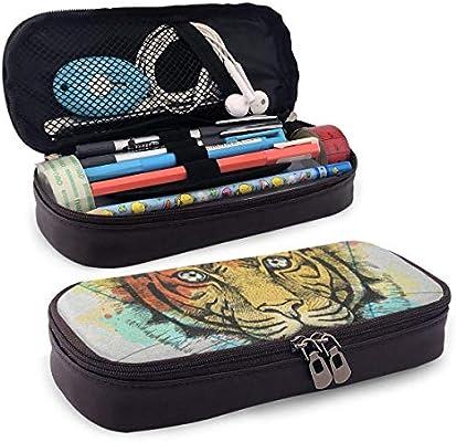 Tiger On Artistic Polygon - Estuche de piel con cremallera para lápices y gomas de borrar: Amazon.es: Hogar