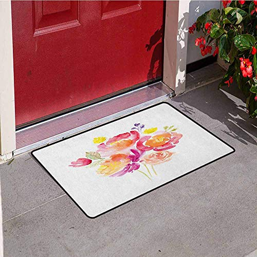 (GloriaJohnson Pastel Welcome Door mat Watercolor Bouquet of Roses Romantic Artistic Corsage Design Bridal Wedding Flora Door mat is odorless and Durable W29.5 x L39.4 Inch Multicolor)