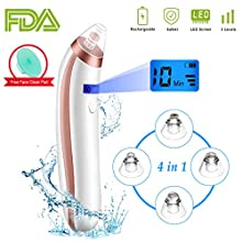 New Upgraded Electric Blackhead Remover with 4 Suction Probe/USB Charging /LED Display/3 Adjustable Suction Force - Wake Up Your Skin▶Feature Ⓐ3 adjustable suction force, suck out the blackheads completely☛Level 1: small suction, suitable for...
