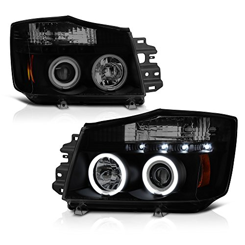 [For 2004-2015 Nissan Titan & 2005-2007 Armada] CCFL Halo Ring Black Smoke Projector Headlight Headlamp Assembly, Driver & Passenger Side