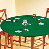 green tabletop - Fitted Round Elastic Edge Solid Green Felt Table Cover for Poker Puzzles Board Games Fits 36