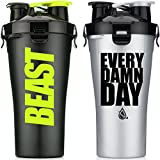 Hydra Cup Dual Threat - Protein & Pre Shaker Bottles, Shaker Cup, 28oz, 2 Pack (Every Damn Day & Stealth Beast)