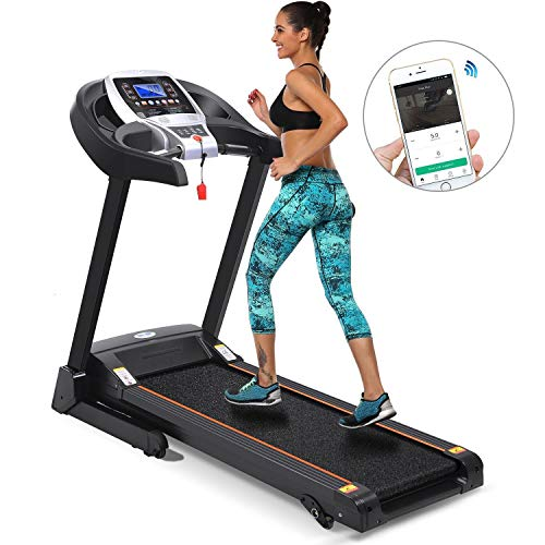 Folding Electric Treadmill Incline with Smartphone APP Control, Power Motorized Fitness Running Machine Walking Treadmill Easy Assembly (2.25 HP-Black)