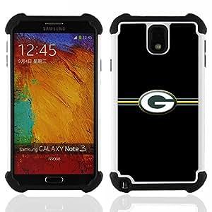 """SAMSUNG Galaxy Note 3 III / N9000 / N9005 - 3 en 1 impreso colorido de Altas Prestaciones PC Funda chaqueta Negro cubierta gel silicona suave (Packer G"""")"""