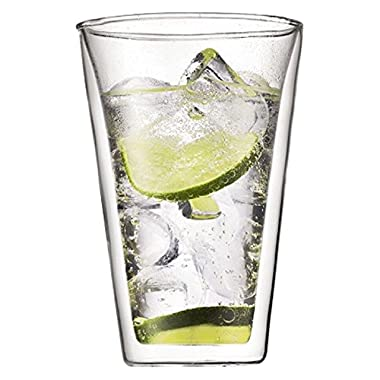 Bodum Canteen Glasses, Double-Wall Insulated Glass, Clear, 13.5 Ounces, (Set of 2)