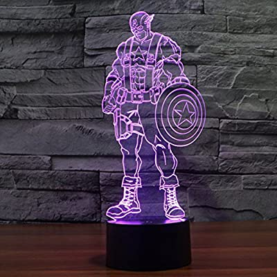 First Captain America Lamp 3d Led for Desk Table Star War Clone Troopers Night Light 7 Color Change Lighting Lamps Gift Household Home Decoration Accessories