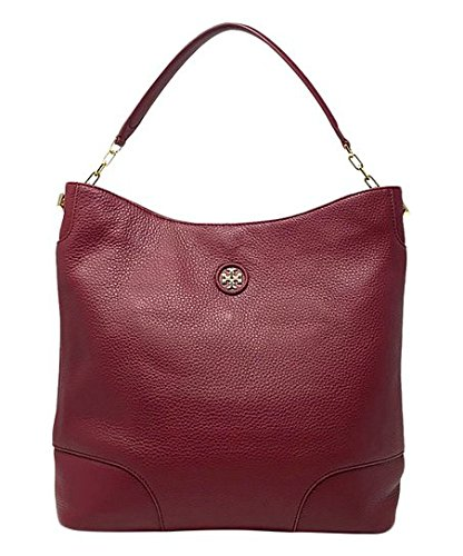 Agate Pebbled Logo Burch Red Handbag Hobo Leather Tory Whipstitch Leather qESZInwnH