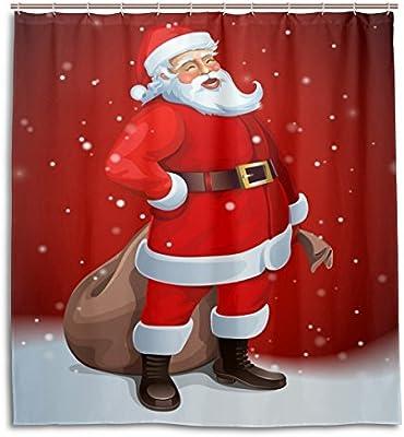 Cortinas de ducha impermeable moho a prueba de molde resistente feliz año nuevo Navidad Papá Noel tema lavable polyseter cortina de baño con ganchos ...