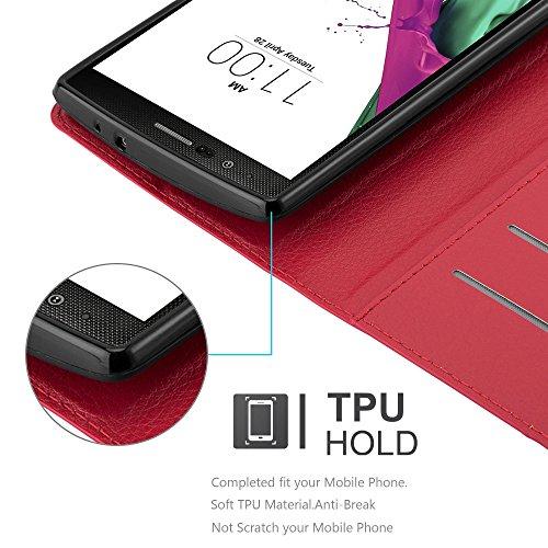 Cadorabo - Funda >                                          LG OPTIMUS G4                                          < Book Style de Cuero Sintético en Diseño Libro �?Etui Case Cover Carcasa Caja Protección (con función de Soporte y tarjetero) en ROJO-CARMÍN ROJO-CARMÍN