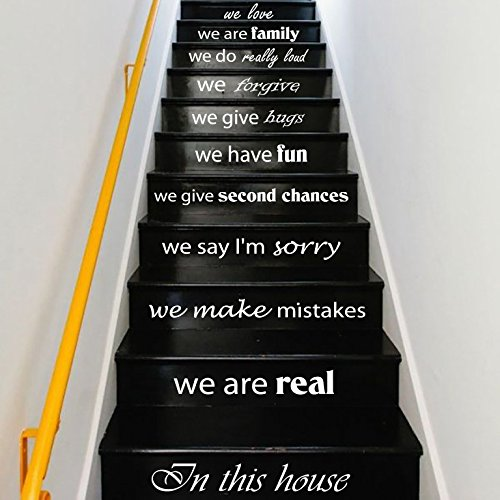 Wall Decals Staircase Quotes In this house we are real... STAIR CASE Stairway Stairs Quote Wall Vinyl Decal Stickers Bedroom Murals