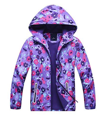 Jingle Bongala Kids' Boys' Girls' Outdoor Waterproof Fleece Jacket with Hood Coat Climbing Hiking Windbreaker-PurpleFloral-120 -