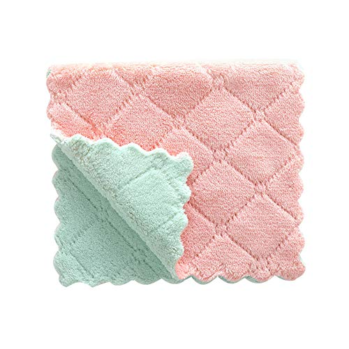 millet16zjh Dish Cloth,Water Absorbent Washing Dish Plate Cloth Towel Rag Home Kitchen Clean Tablecloth Green Pink ()