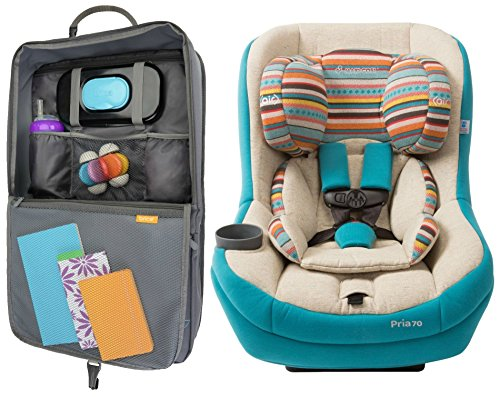 Maxi Cosi Pria 70 Convertible Car Seat with Air Wicking Fabric & Car Seat Organizer with Tablet Viewer, Bohemian Blue
