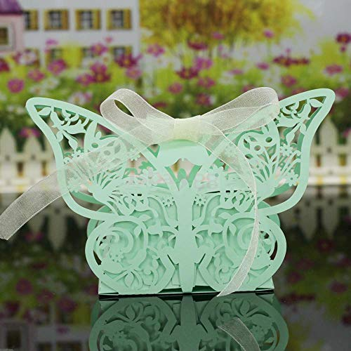 BROSCO 20Pcs Butterfly Sweet Candy Gift Boxes w Ribbon Wedding Party Favor Choose Color   Color - Green