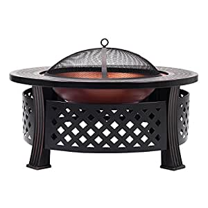 Round Metal Firepit Patio Garden Stove Fire Pit Outdoor Brazier Black 32""