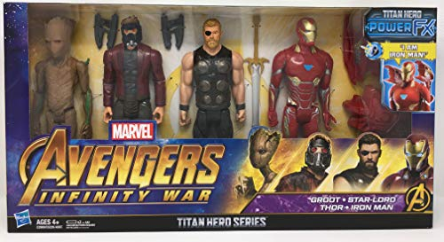 Marvel Avengers Infinity War Titan Hero Series Groot, Star-Lord, Thor & Iron Man 4 Pack with Power Fx