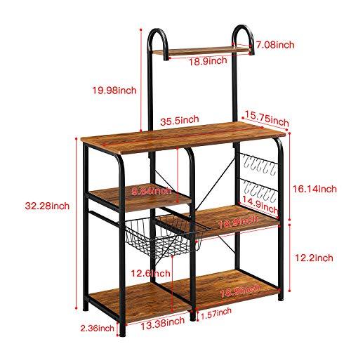 Mr IRONSTONE Vintage Kitchen Baker's Rack Utility Storage Shelf 35.5'' Microwave Stand 4-Tier+3-Tier Shelf for Spice Rack Organizer Workstation with 10 Hooks by Mr IRONSTONE (Image #5)