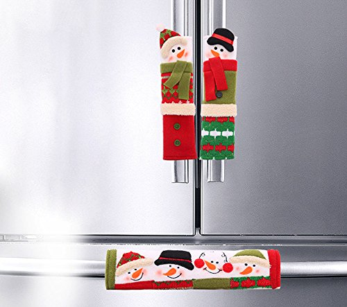 Coolrunner Cute Snowman Kitchen Appliance Handle Covers - Set of 3 Christmas Decoration Style (for Refrigerator)