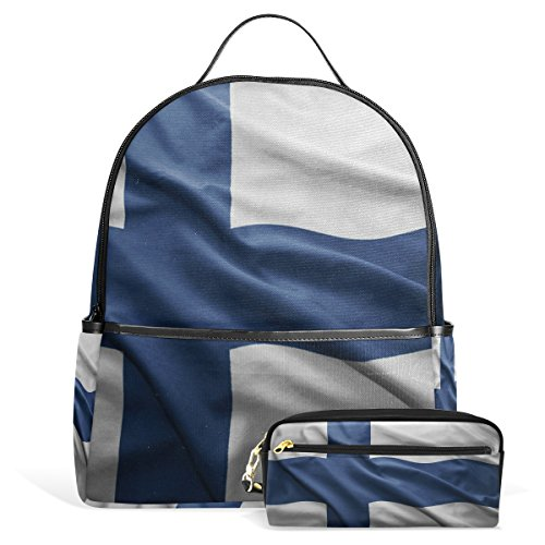 - Finland Flag Unisex Canvas School College Student Backpack Laptop Bags Rucksack Casual Daypack with Pencil Case