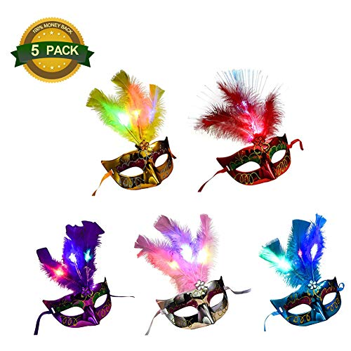 Chelseabyt 5 PCS Women LED Fiber Mask Glowing Masquerade Party Princess Feather Masks Costumes Party Accessory ()