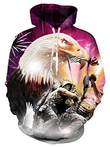 - Men's 3D American Soldier USA Flag Patriotic Printed 80s Pullover Long Sleeve Personalized Fleece Hooded Sweatshirts