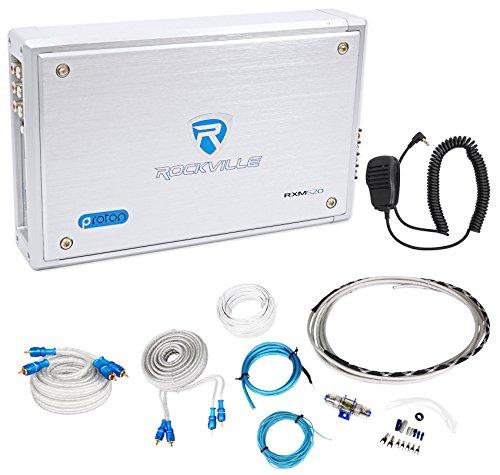 (Rockville RXM-S20 Micro Marine/ATV Amplifier 1600w Peak 4 Channel 4x100W+Amp Kit )