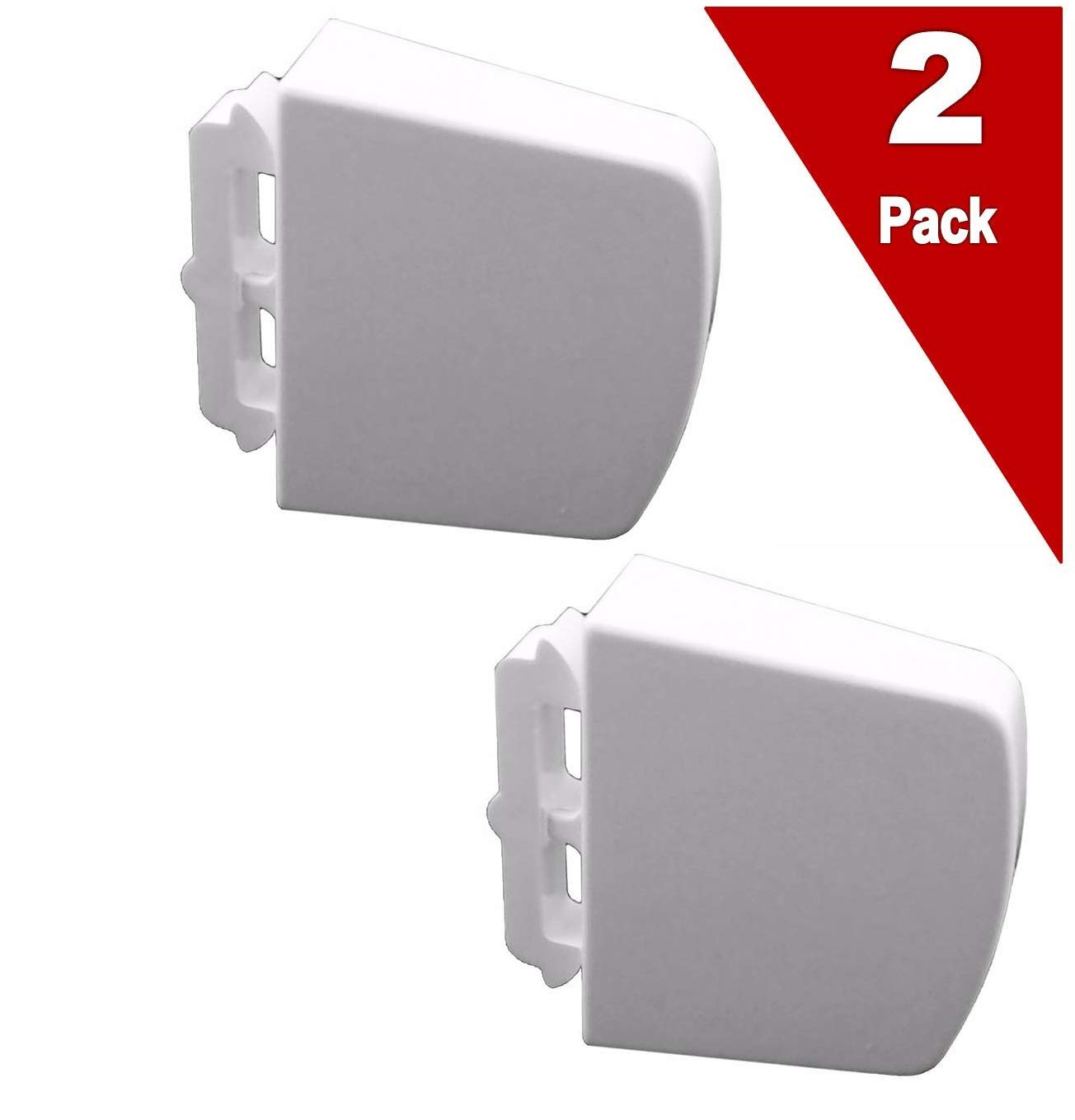 (2 Pack) EXPWR2X7232 Refrigerator Shelf Retainer Bar Endcap (White) Replaces WR2X7232, WR2X8078, PS298403, AP2059155
