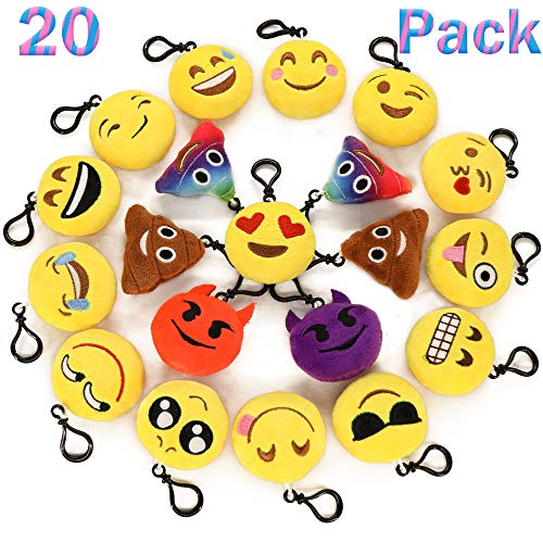 "Ivenf Pack of 20 5cm/2"" Emoji Poop Plush Keychain Birthday Party Favors Supplies Mini Pillows Set, Emoticon Backpack Clips, Goodie Bag Stuffers Pinata Fillers Novelty Gifts Toys Prizes for Kids"